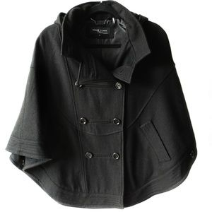 Black Rivet Cape Wool Blend Hooded Double Breasted